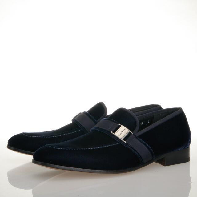 de01ce20917e Salvatore Ferragamo Danny Navy Blue Velvet Moccasin Bit Loafers - Mens 10 D