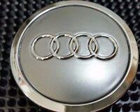 Audi 4 Pcs Wheel Center Cap Gray Chrome Logo 70 Mm 4b0601170a