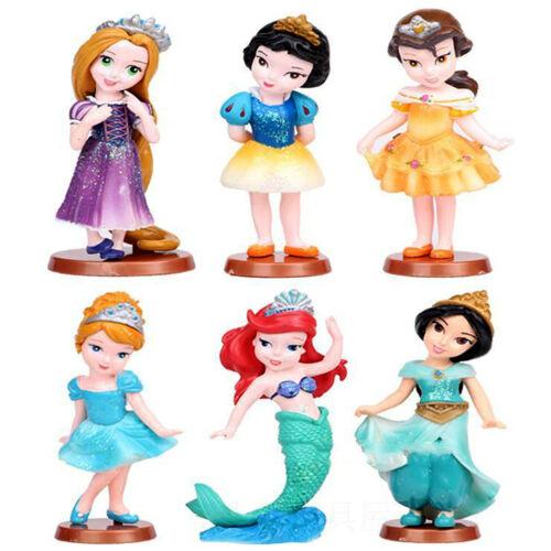 6Pcs//Set PrincessPVC Cinderella Snow White Rapunzel Jasmine Thinkbell Bella Doll