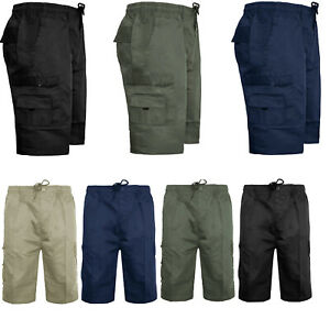 Mens-Elasticated-Casual-Cargo-Shorts-Summer-Holiday-Cotton-Half-Pants-Big-Size