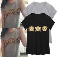 Women Girls 3D Monkey O Neck Tank Top Shirt Blouse Tops T-Shirt Black Gray Tee