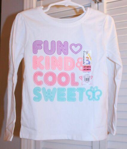 Girls FUN KIND COOL SWEET Long Sleeve Shirt-NEW-Top-Purple-Pink-Heart 4T or 5T