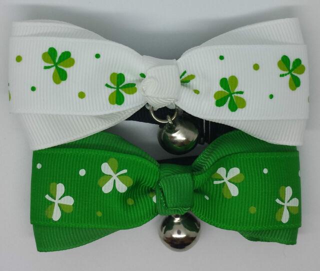 UK Adjustable Pet Cat Dog Teddy Doll Necktie Bowtie Lucky Clover St Patrick's