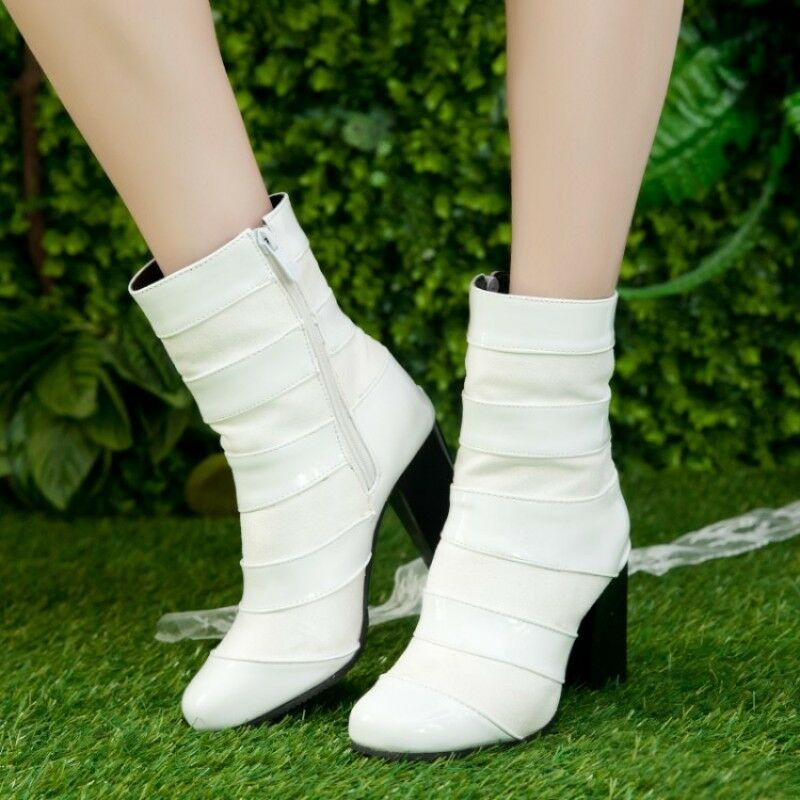 Women Suede Patent Leather Splice High Heel Block Mid Calf Boots Leisure shoes