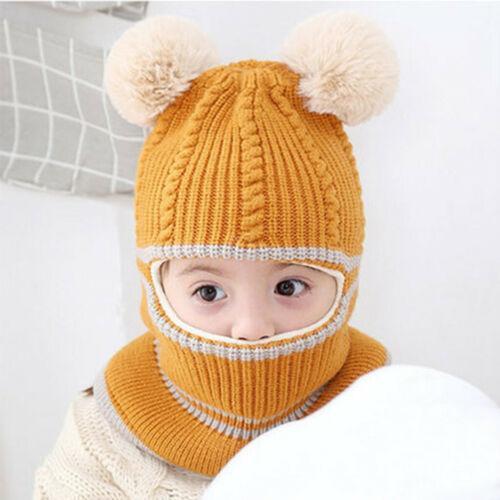 Toddler Kids Baby Boys Girl Pompon Hat Winter Warm Knit Crochet Beanie Cap Scarf