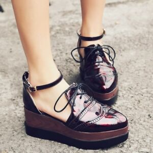 1bdf378868d Women Brogue Platform Wedge Heel Lace Up Oxfords Ankle Strap Punk ...