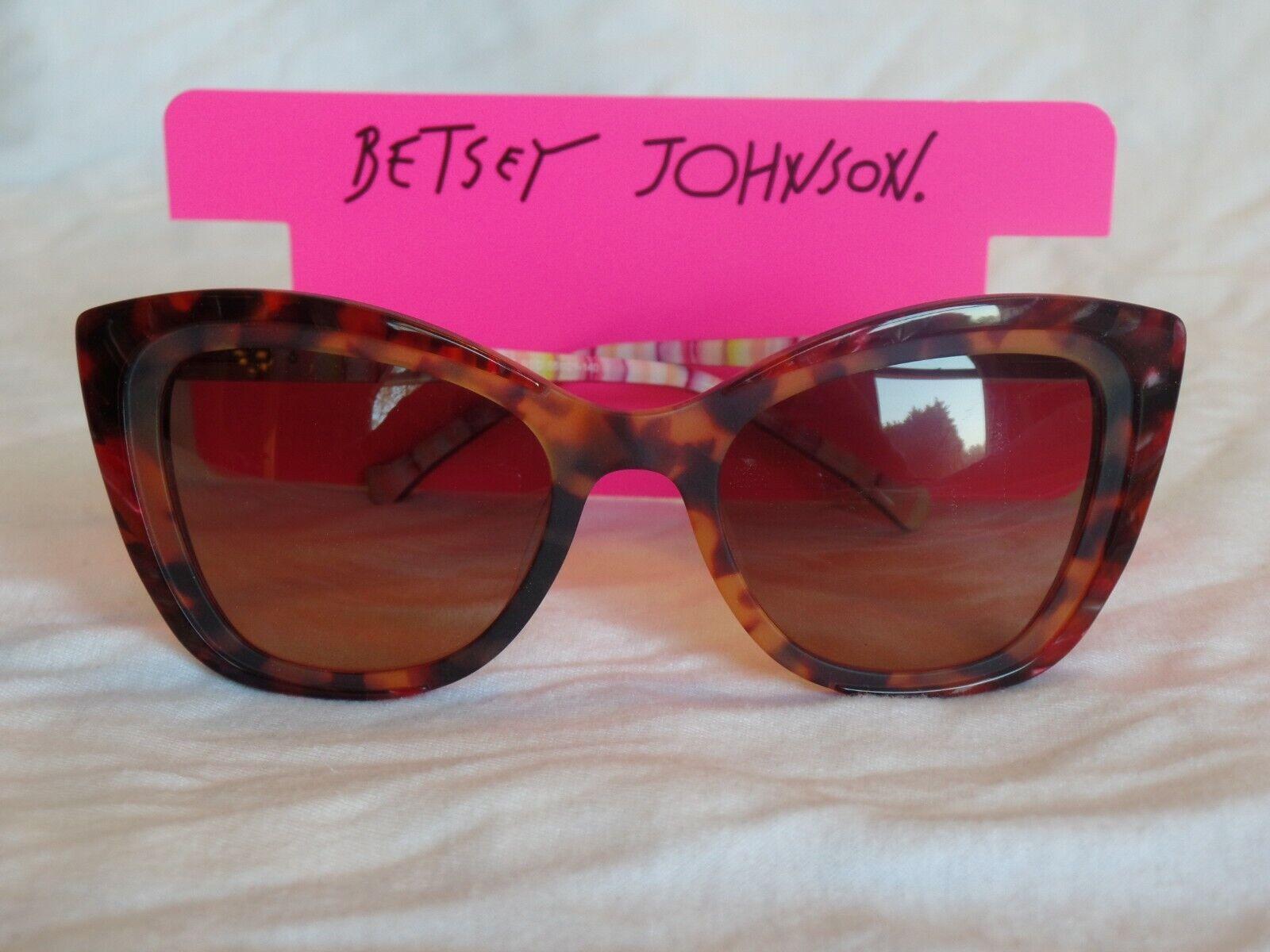 New Women's Betsey Johnson Sunglasses Save The Drama Red Plastic 55-21-140