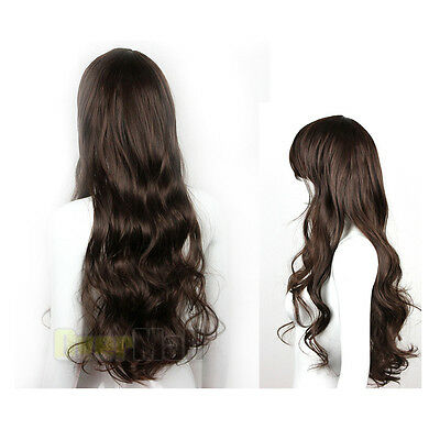 Sexy Womens Girls Fashion Style Wavy Curly Long Hair Girl Full Wigs Light Brown