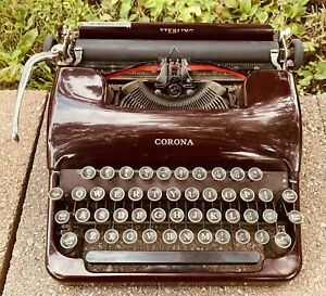 Antique Smith Corona Red Maroon Sterling Typewriter Rare SN 2A 46629 With Case