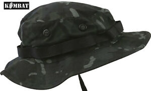 Combat-US-Military-Army-BTP-Black-Camo-Wide-Brimmed-Jungle-Boonie-Hat-Sun-Hat