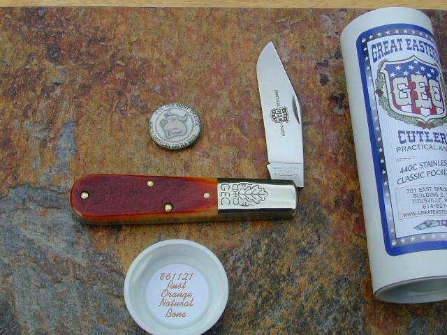 GREAT EASTERN CUTLERY GEC RUST ORANGE BONE LARGE BARLOW KNIFE RARE MIT 861121