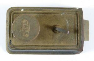 Vintage-Heavy-Brass-Bronze-YALE-Door-Lock-Patina-Working-Interior-Knob