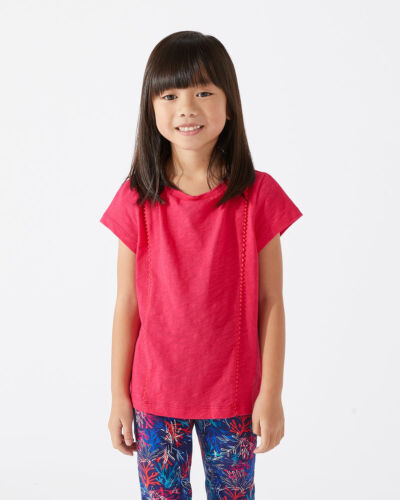 Jigsaw Pom Pom T-shirt Girls New Pink Hot Pink