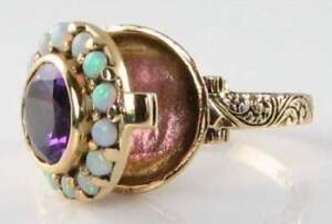 LOVELY-9CT-9K-GOLD-POISON-LOCKET-AFRICAN-AMETHYST-AUS-OPAL-ART-DECO-INS-RING