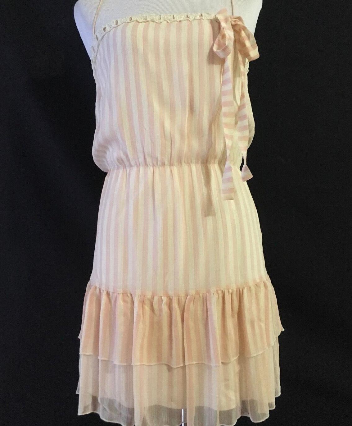..LEMON Women's SILK Lined Spaghetti Strap Soft Pink Beige Striped Dress 2