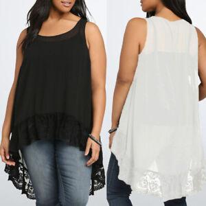 UK-10-24-Women-Loose-Sleeveless-Tank-Top-Lace-High-Low-Asymmetrical-Shirt-Vest