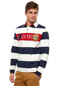 White-Long-Sleeves-Rugby-Polo-Striped-T-Shirt-100-Cotton-Clearance-82420
