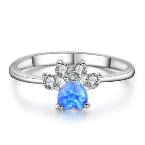 b1e9da9ecf Heart Cut Blue Fire Opal Ring White Gold Cute Dog Paw Footprint Ring ...
