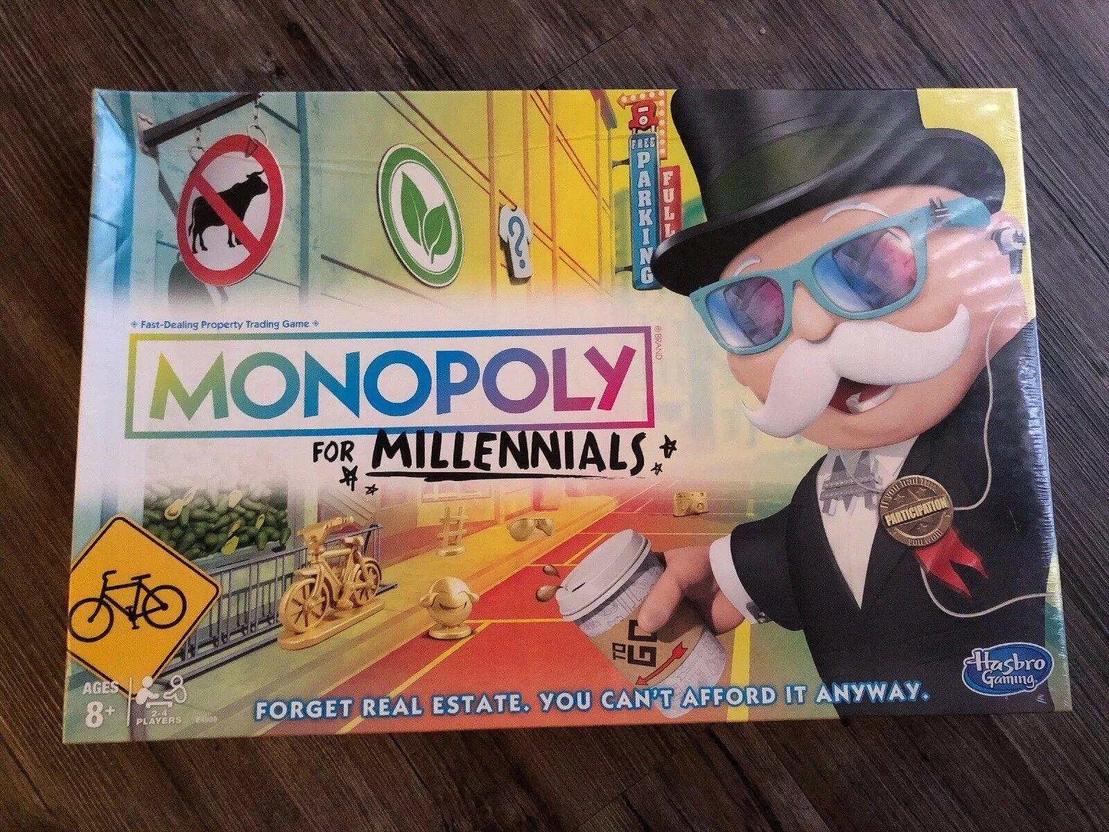 MONOPOLY FOR MILLENNIALS MILLENIALS MILENNIALS BOARD GAME Ages 8+ On Hand