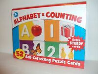 Alphabet & Counting Self Correcting 52 Extra Sturdy Puzzle Cards In Storage Case
