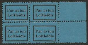 Iceland-Loftlei-is-Par-avion-Airmail-etiquette-Cinderella-label-BLOCK-VF-NH