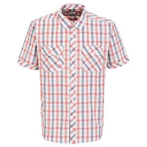 Trespass-Hopedale-Mens-Short-Sleeve-Button-Casual-Summer-Cotton-Check-Shirt