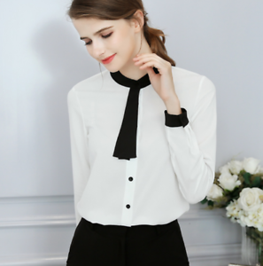 Women-OL-Work-Formal-Shirt-Long-Sleeve-Office-Uniform-Top-Blouses-Polyester