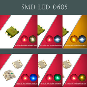 100pcs-0605-SMD-LED-Bi-Color-Red-Blue-Green-Yellow-Warm-White-White-LEDs-NEW