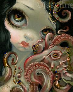 Jasmine-Becket-Griffith-art-print-squid-mermaid-fairy-SIGNED-Jeweled-Octopus