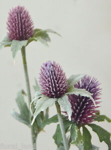 1 X Artificial Silk Flower Wedding Scottish Thistle Flowers Purple