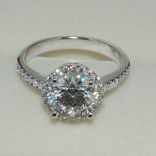 Handmade Jewelry Round 2ct Topaz Diamonique 925 Silver Engagement Wedding Ring