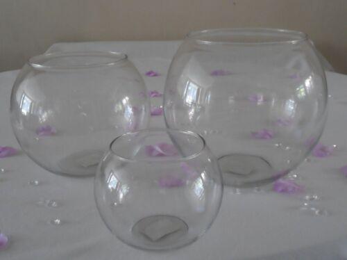 Small Medium Large Verre Fleur bonbons vase boule bocal à poissons-Mariage Pièce Centrale