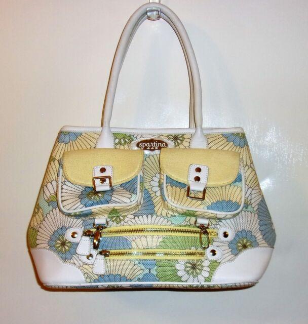 Vintage Spartina 449 Daufuskie Island Leather Linen Paisley Handbag