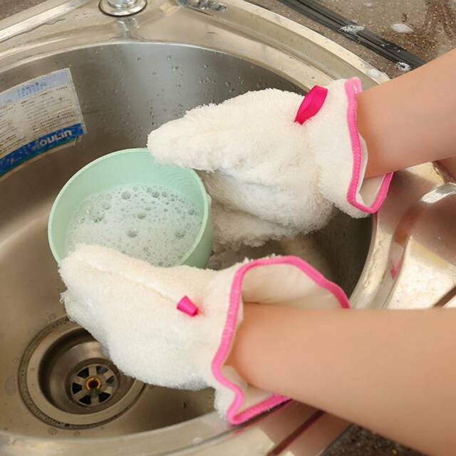 1Pair Bamboo Fiber Kitchen Cleaning Towel Thicken Reusable Washing Cloth Gloves