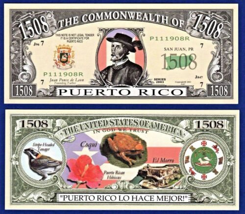 5-Puerto Rico Dollar Bills Collectible NOVELTY Fake Money M2