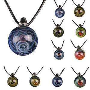 Sonnensystem-Anhaenger-Halskette-Planet-Halskette-doppelseitige-Glaskuppel-W6E9