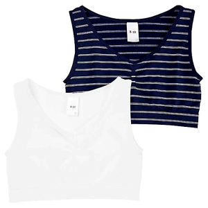 Active Sports Girls 2 Set Crop Top Seemfree Stretchy Navy White Striped White