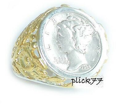 Unisex 24k Highlighted Mercury Dime Coin Ring Sterling Silver Smooth Polished