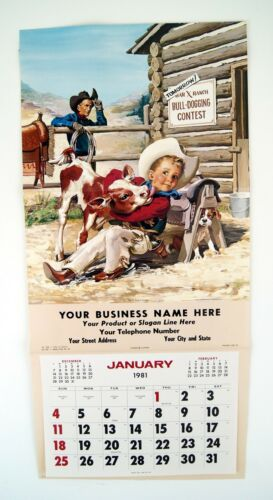 Vintage 1981 Charles Showalter Sandy Gets a Lickin/' Calendar Print