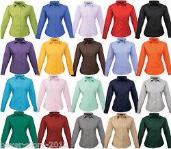 Damen Bluse Langarm Business Hemd Übergröße 34 36 38 40 42 44 46 48 50 52 54