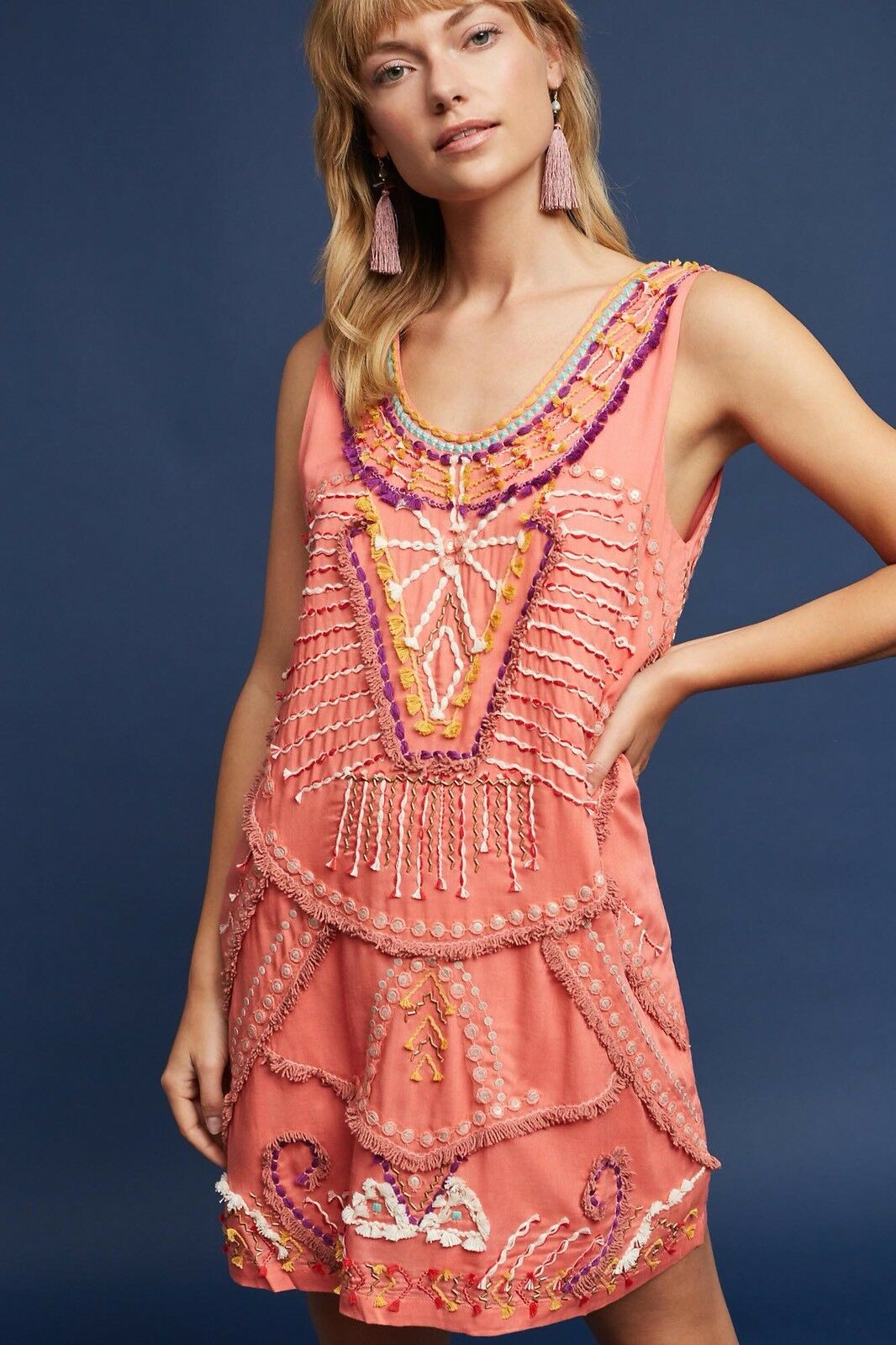 Anthropologie Reveka Embellished Shift Dress Size Large Petite NEW MSRPs