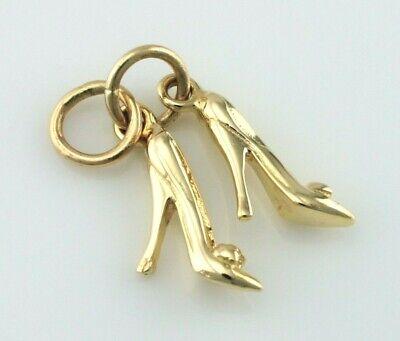New 9ct Yellow Gold Pair Of High Heel Ladies Shoes - Stilettos Charm / Pendant Mit Einem LangjäHrigen Ruf