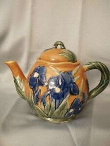 Pottery Teapot By Henriksen Imports Purple Iris Flowers Floral