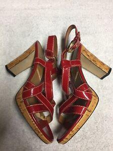 da87e7dd36a Tahari Women s Red Patent Ankle Strap Block Heel Dress Shoes Size Sz ...