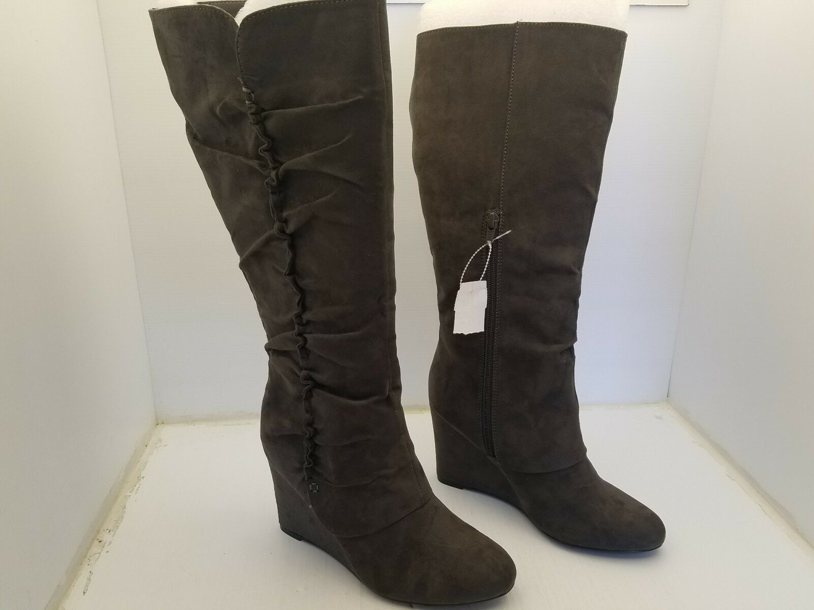 MIA AMORE ADYSON TAUPE WEDGE HEEL TALL MID CALF BOOTS WOMEN'S SIZE 7.5M