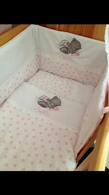 Cute Tatty Grey Teddy Cot bed Set And Matching Fleece Blanket