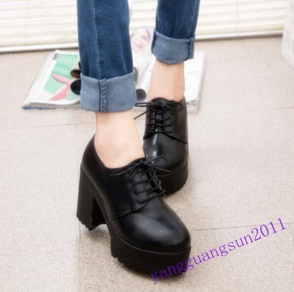 80% New donna scarpe Lace Up High Platform Block High Heels Work nero Round toe