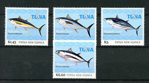 Papouasie-nouvelle-guinee-2016-neuf-sans-charniere-albacore-fishing-4v-set-poissons-fishes-timbres