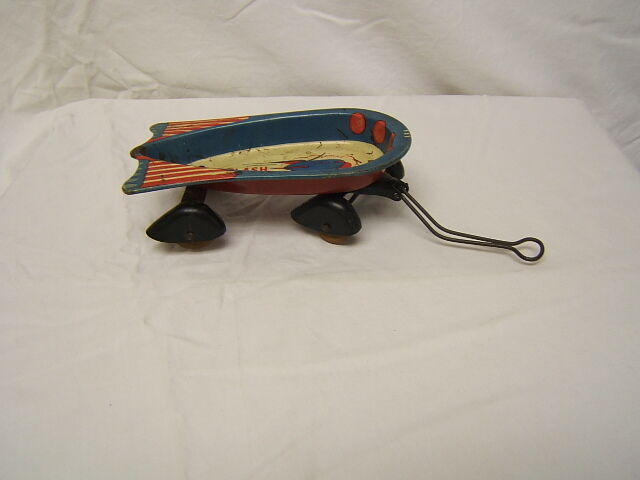 Wyandotte Toys Flash Strat-O-Wagon Tin Litho Toy Wood Wheels Deco Style