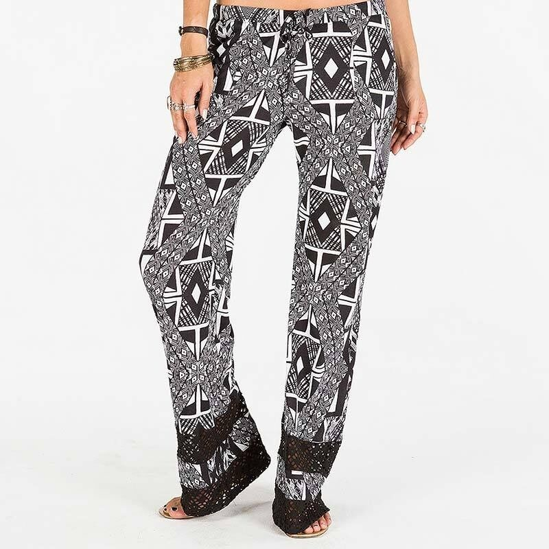 2015 NWT damen ELEMENT REESE PANTS  55 M schwarz lace inserts all over print